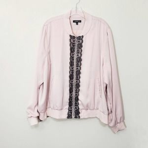 Lane Bryant Lace Trimmed Sateen Bomber Jacket Pink